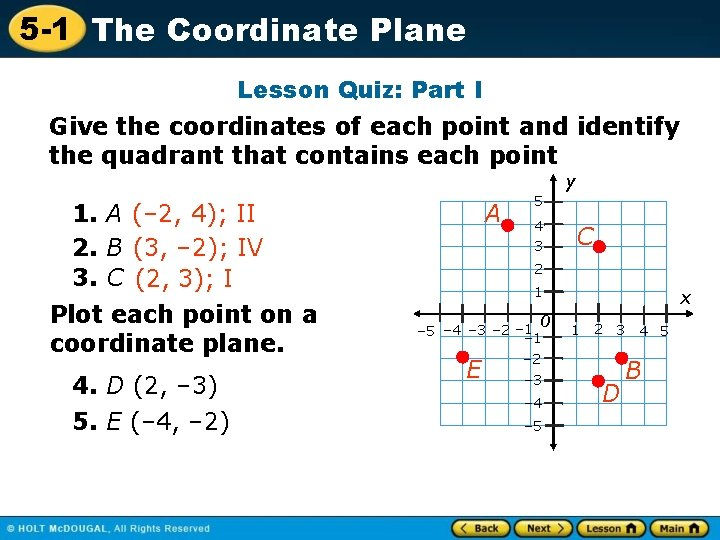 5 -1 The Coordinate Plane Lesson Quiz: Part I Give the coordinates of each