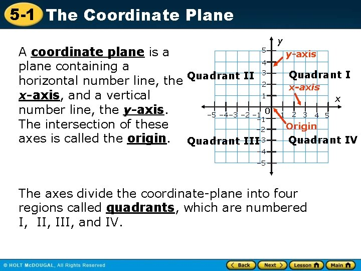 5 -1 The Coordinate Plane 5 A coordinate plane is a 4 plane containing