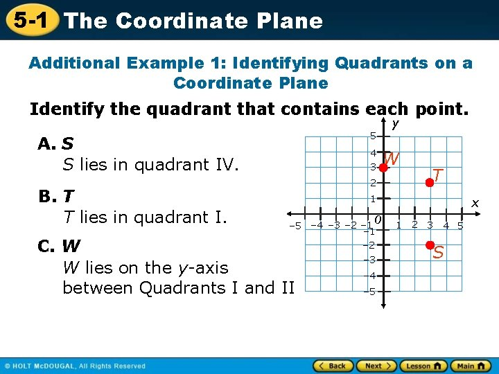 5 -1 The Coordinate Plane Additional Example 1: Identifying Quadrants on a Coordinate Plane