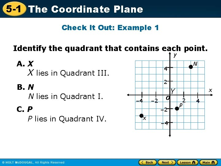 5 -1 The Coordinate Plane Check It Out: Example 1 Identify the quadrant that