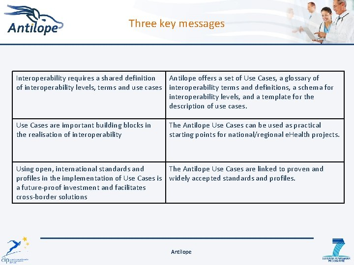 Three key messages Interoperability requires a shared definition Antilope offers a set of Use