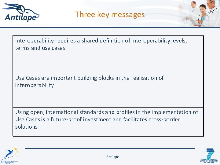 Three key messages Interoperability requires a shared definition of interoperability levels, terms and use
