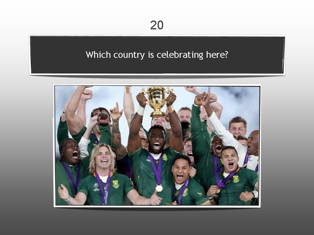 20 Which country is celebrating here?