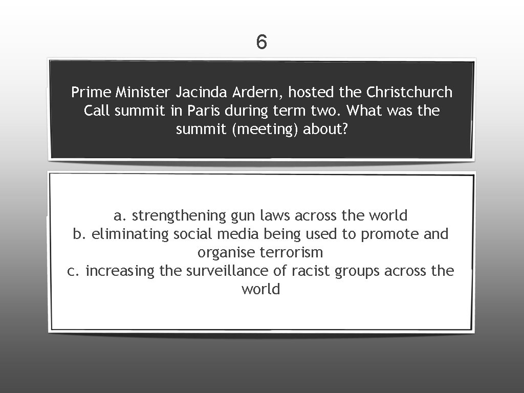 6 Prime Minister Jacinda Ardern, hosted the Christchurch Call summit in Paris during term