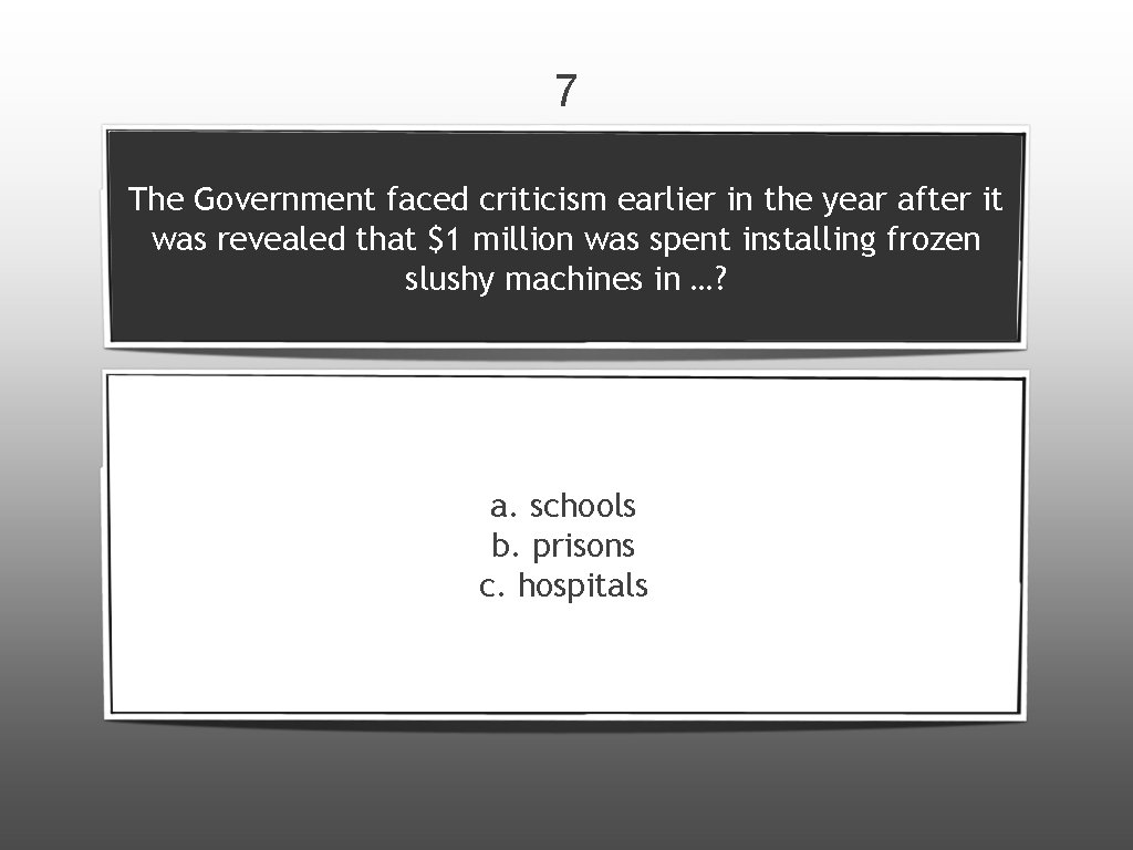 7 The Government faced criticism earlier in the year after it was revealed that