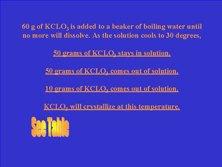 60 g of KCLO 3 is added to a beaker of boiling water until