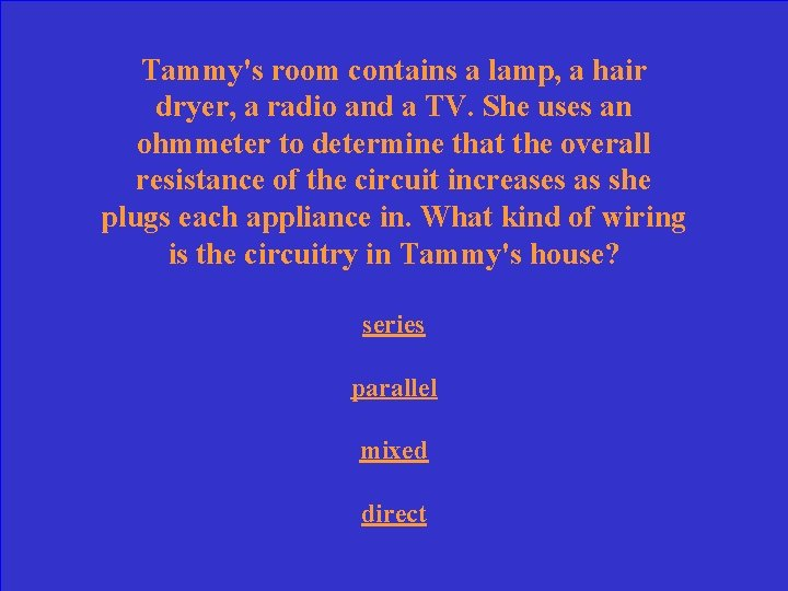 Tammy's room contains a lamp, a hair dryer, a radio and a TV. She