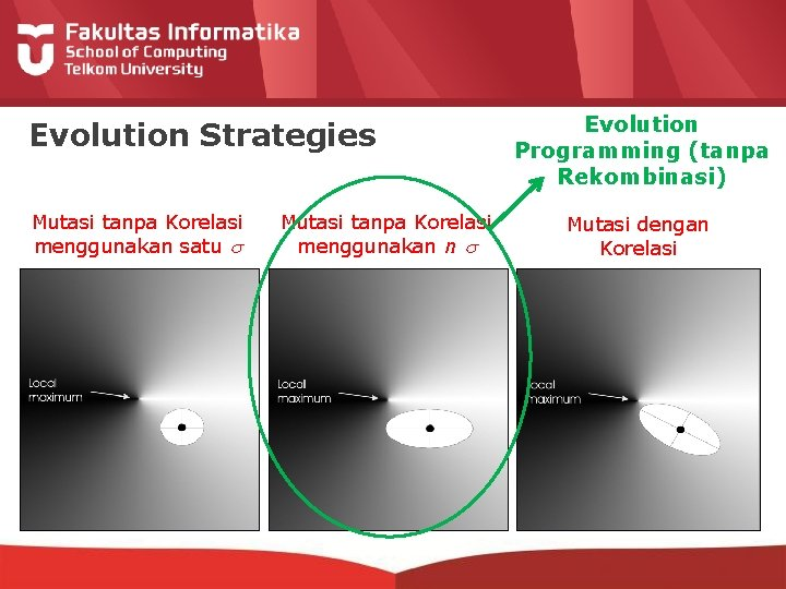 Evolution Strategies Mutasi tanpa Korelasi menggunakan satu Mutasi tanpa Korelasi menggunakan n Evolution Programming