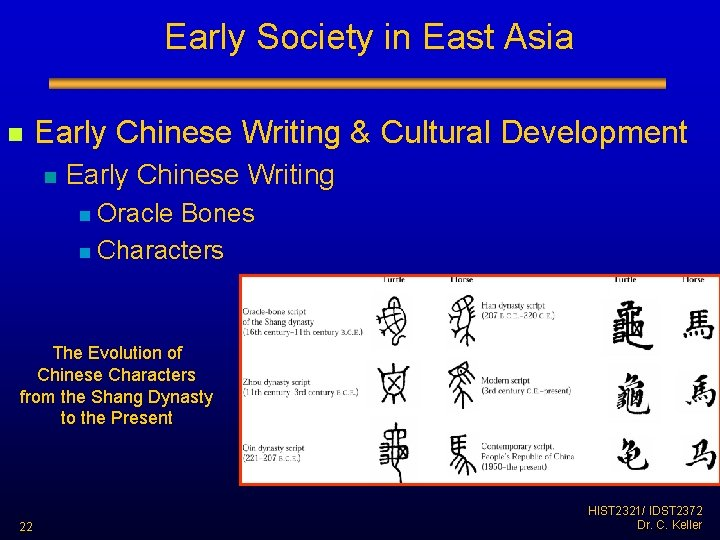 Early Society in East Asia n Early Chinese Writing & Cultural Development n Early