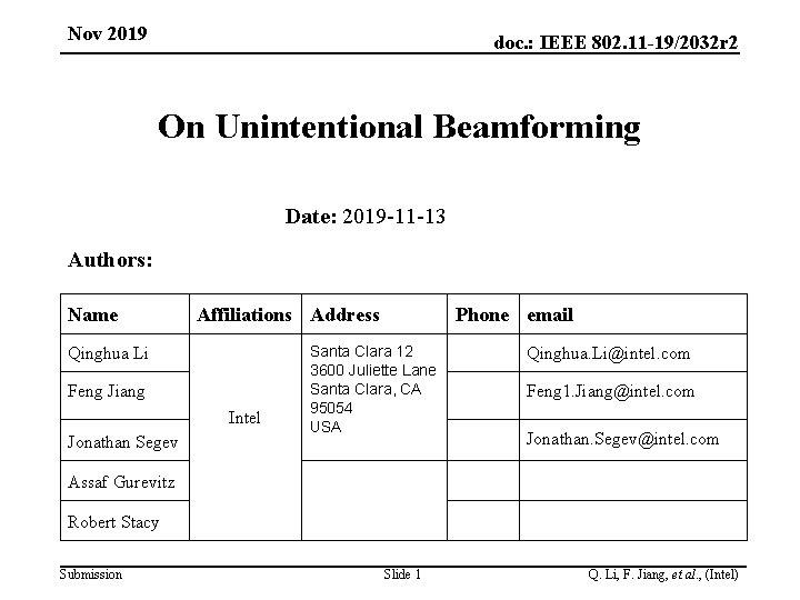 Nov 2019 doc. : IEEE 802. 11 -19/2032 r 2 On Unintentional Beamforming Date: