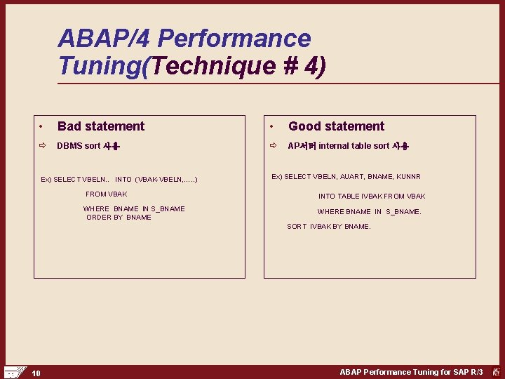 ABAP/4 Performance Tuning(Technique # 4) • Bad statement • Good statement ð DBMS sort