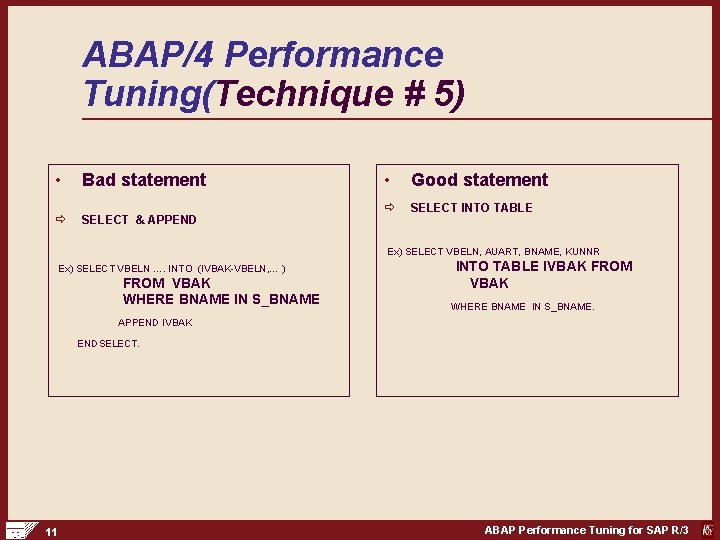 ABAP/4 Performance Tuning(Technique # 5) • Bad statement ð SELECT & APPEND • Good