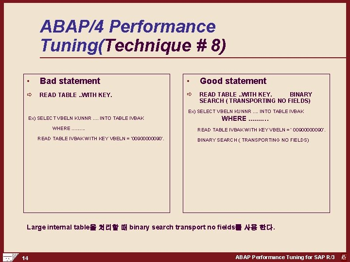 ABAP/4 Performance Tuning(Technique # 8) • Bad statement • Good statement ð READ TABLE.