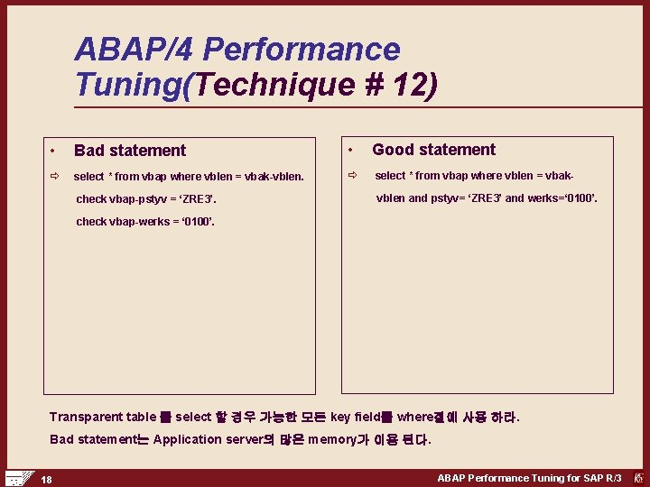 ABAP/4 Performance Tuning(Technique # 12) • Bad statement • Good statement ð select *