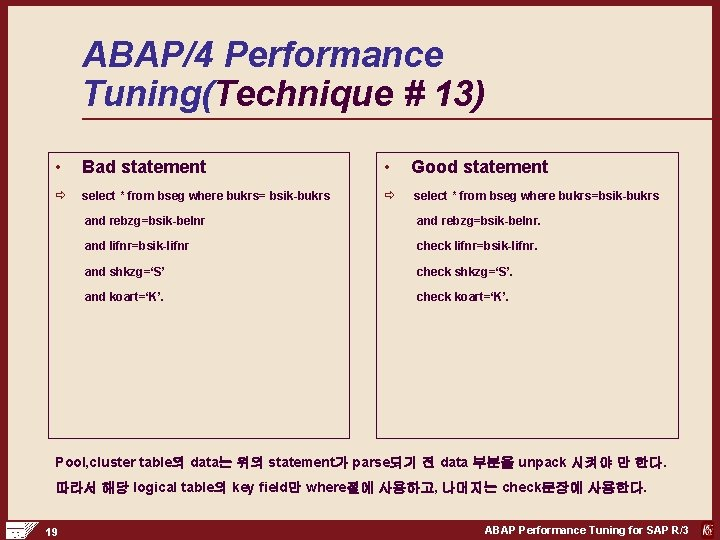 ABAP/4 Performance Tuning(Technique # 13) • Bad statement • Good statement ð select *