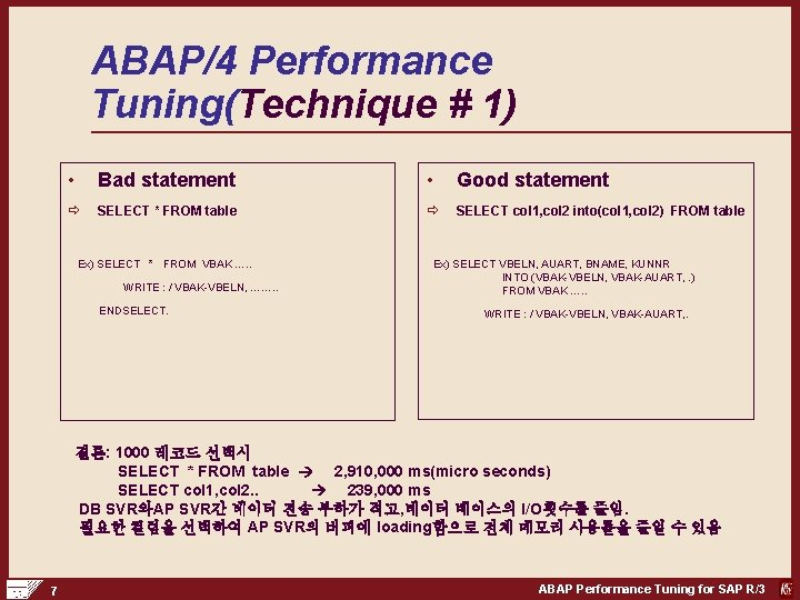 ABAP/4 Performance Tuning(Technique # 1) • Bad statement • Good statement ð SELECT *