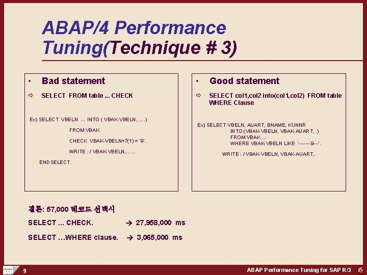 ABAP/4 Performance Tuning(Technique # 3) • Bad statement • Good statement ð SELECT FROM