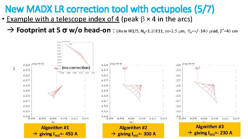 New MADX LR correction tool with octupoles (5/7) • Example with a telescope index