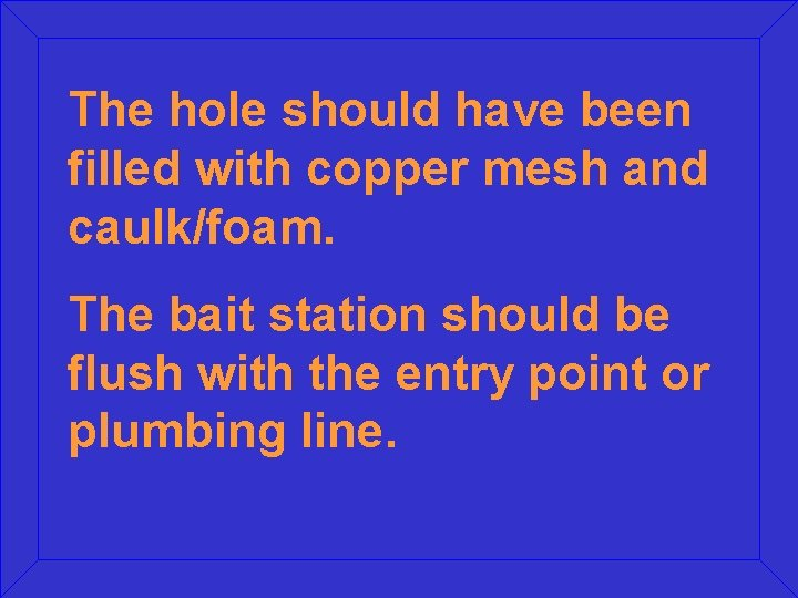 The hole should have been filled with copper mesh and caulk/foam. The bait station