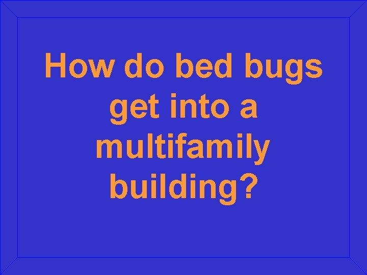 How do bed bugs get into a multifamily building?