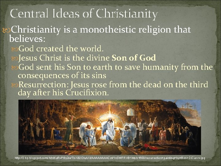 Central Ideas of Christianity is a monotheistic religion that believes: God created the world.