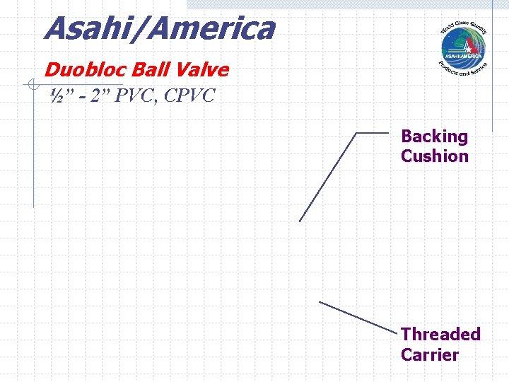 """Asahi/America Duobloc Ball Valve ½"""" - 2"""" PVC, CPVC Backing Cushion Threaded Carrier"""