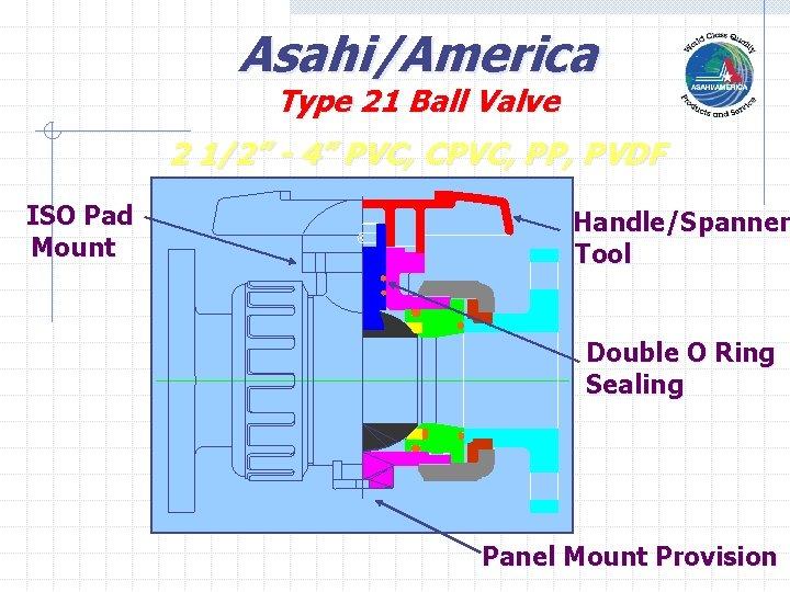 "Asahi/America Type 21 Ball Valve 2 1/2"" - 4"" PVC, CPVC, PP, PVDF ISO"