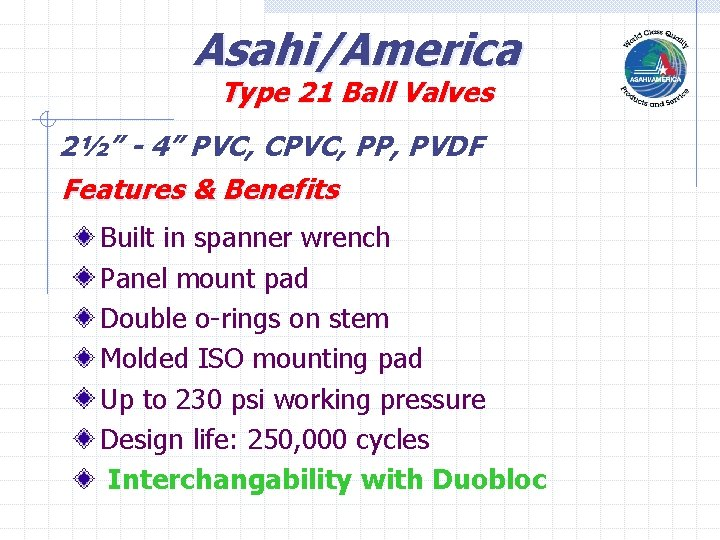 "Asahi/America Type 21 Ball Valves 2½"" - 4"" PVC, CPVC, PP, PVDF Features &"