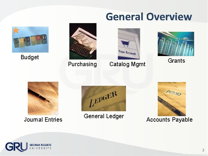 General Overview Budget Purchasing Journal Entries Catalog Mgmt General Ledger Grants Accounts Payable 3