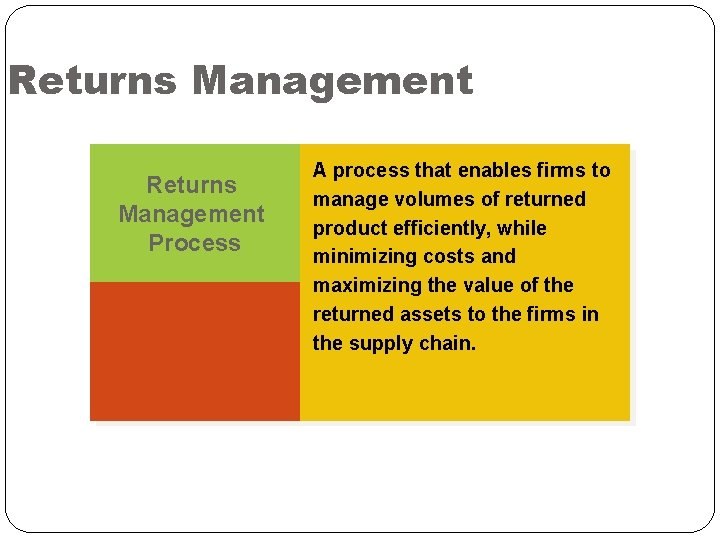 Returns Management Process A process that enables firms to manage volumes of returned product