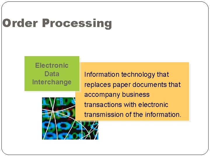 Order Processing Electronic Data Interchange Information technology that replaces paper documents that accompany business