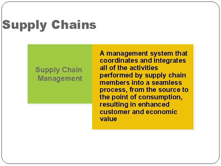 Supply Chains Supply Chain Management A management system that coordinates and integrates all of