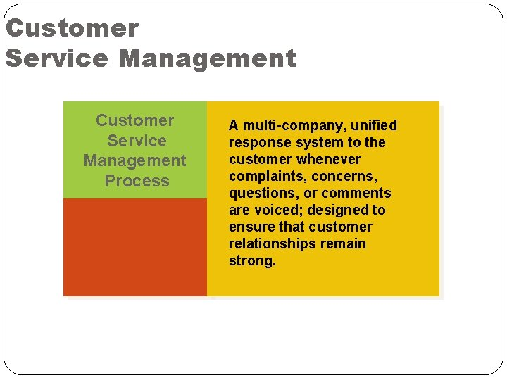 Customer Service Management Process A multi-company, unified response system to the customer whenever complaints,