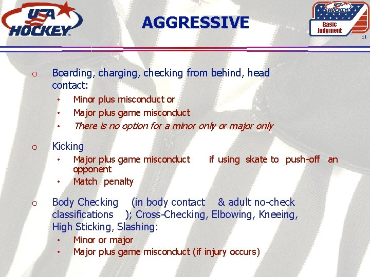 AGGRESSIVE Basic Judgment 11 o Boarding, charging, checking from behind, head contact: • •