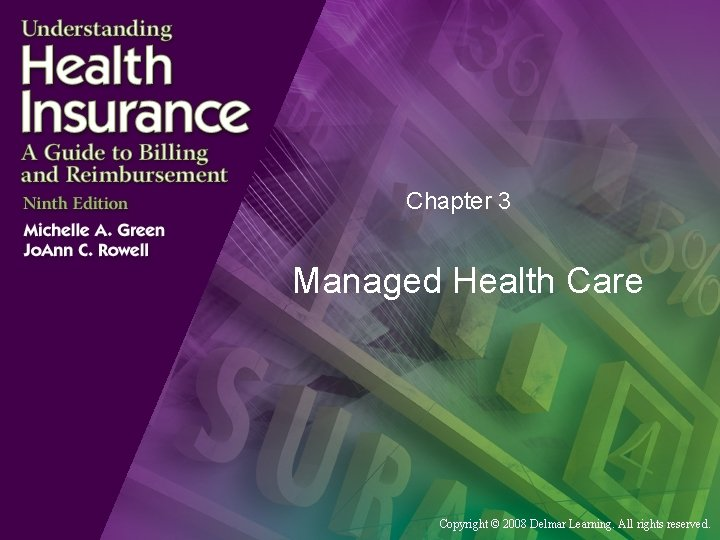Chapter 3 Managed Health Care Copyright © 2008 Delmar Learning. All rights reserved.