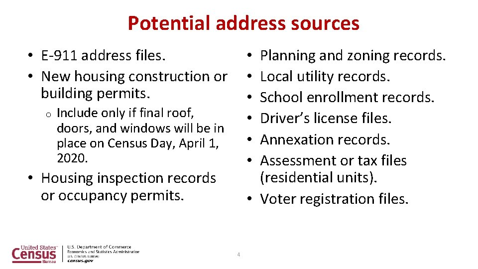 Potential address sources • E-911 address files. • New housing construction or building permits.