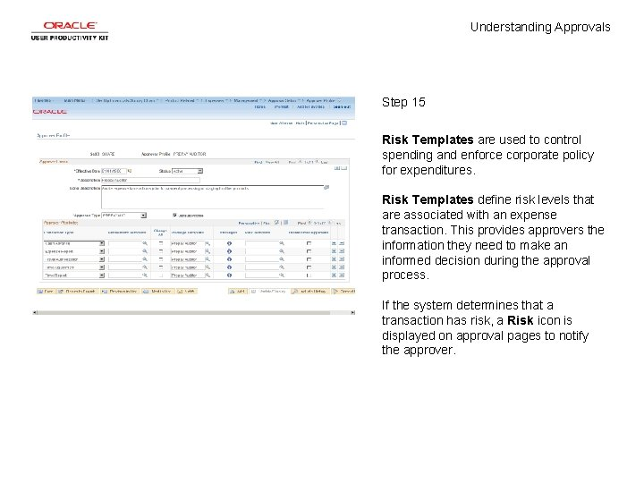 Understanding Approvals Step 15 Risk Templates are used to control spending and enforce corporate