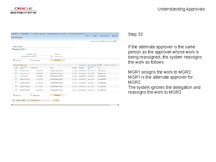 Understanding Approvals Step 32 If the alternate approver is the same person as the