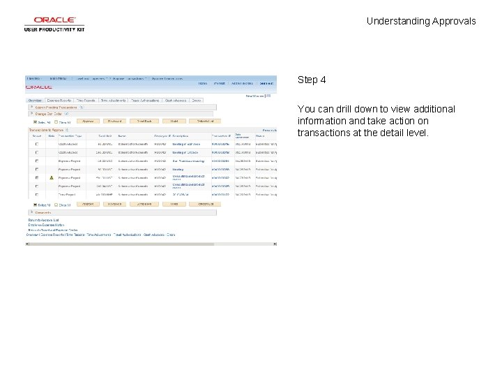 Understanding Approvals Step 4 You can drill down to view additional information and take