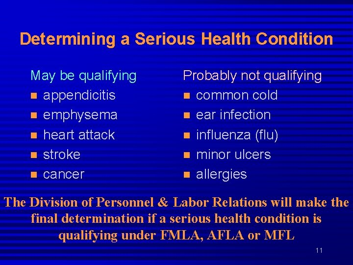 Determining a Serious Health Condition May be qualifying n appendicitis n emphysema n heart