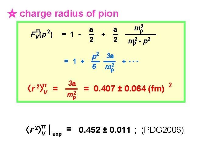 ☆ charge radius of pion π 2 FV (p ) = 1 - a