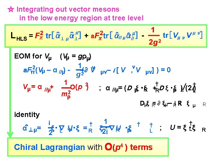 ☆ Integrating out vector mesons in the low energy region at tree level EOM