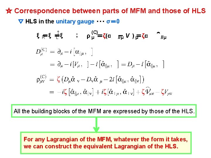 ☆ Correspondence between parts of MFM and those of HLS ▽ HLS in the