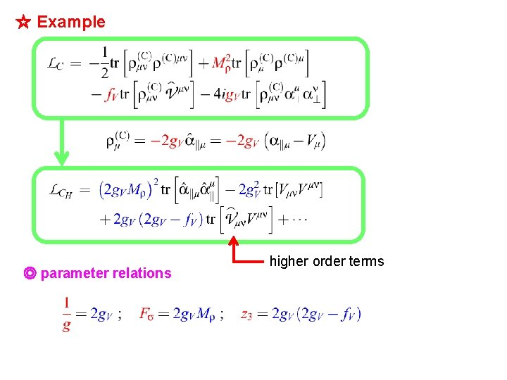 ☆ Example ◎ parameter relations higher order terms