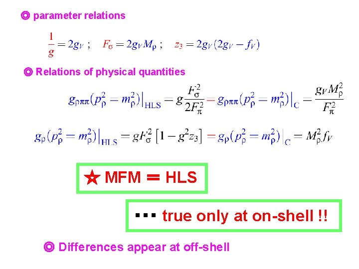 ◎ parameter relations ◎ Relations of physical quantities ☆ MFM = HLS ・・・ true