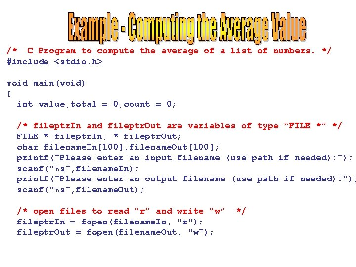 /* C Program to compute the average of a list of numbers. */ #include