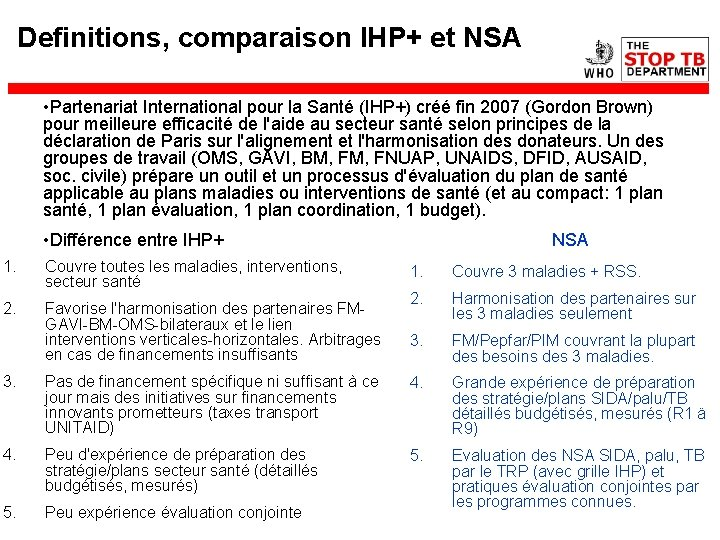 Definitions, comparaison IHP+ et NSA • Partenariat International pour la Santé (IHP+) créé fin
