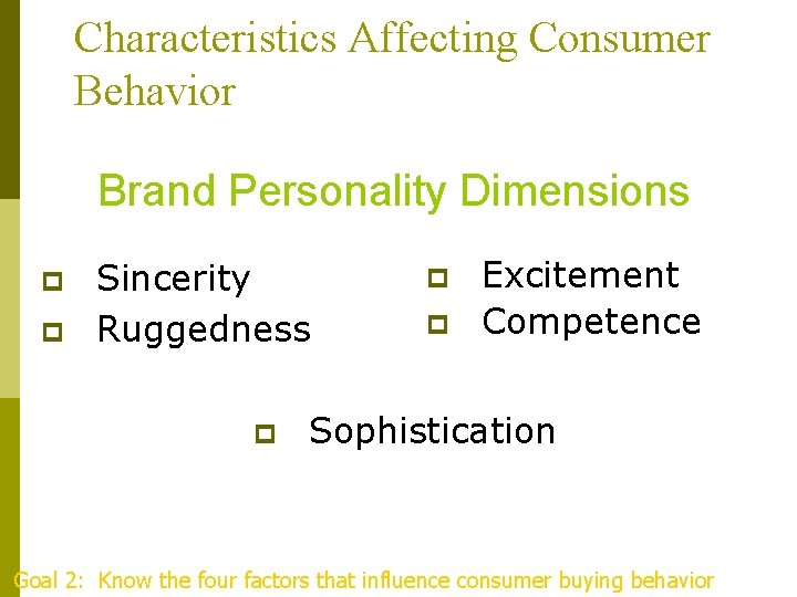 Characteristics Affecting Consumer Behavior Brand Personality Dimensions p p Sincerity Ruggedness p p p