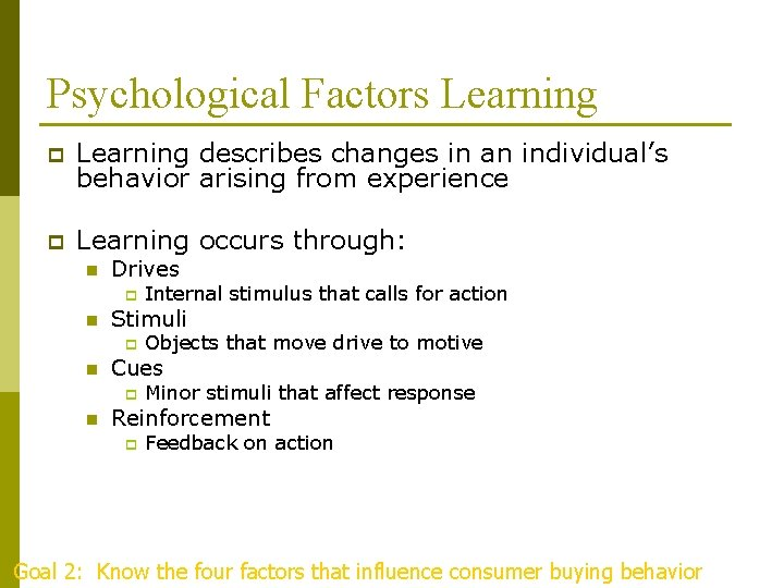Psychological Factors Learning p Learning describes changes in an individual's behavior arising from experience