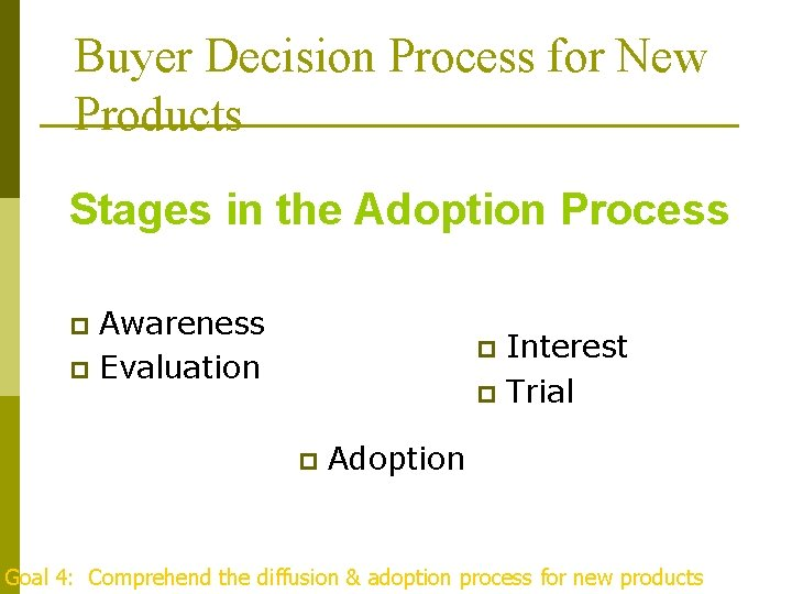 Buyer Decision Process for New Products Stages in the Adoption Process Awareness p Evaluation